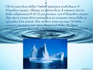 Где больше всего воды? Ответ кажется очевидным: в Мировом океане. Однако на с