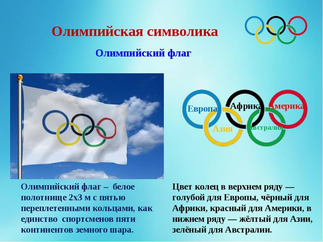 Олимпийская символика Олимпийский флаг Олимпийский флаг – белое полотнище 2х3...