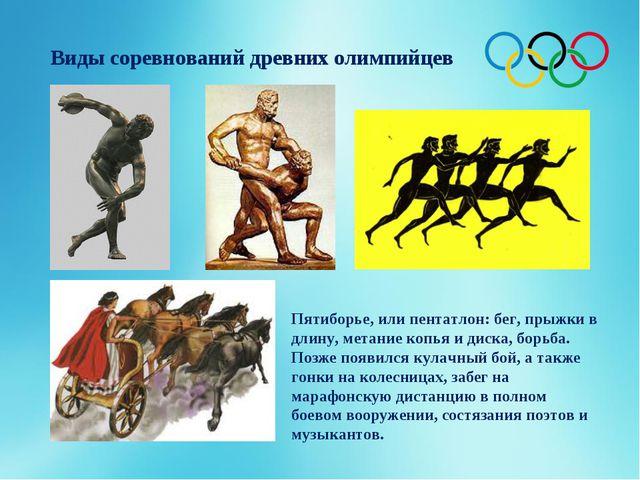 Виды соревнований древних олимпийцев Пятиборье, или пентатлон: бег, прыжки в...