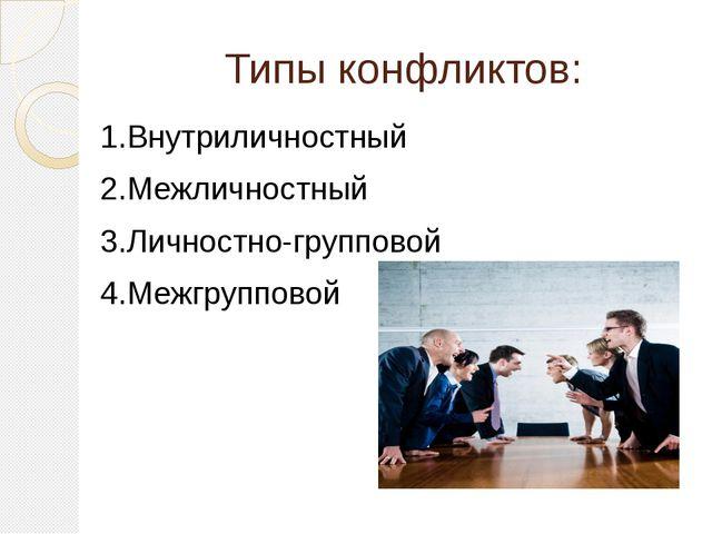 Типы конфликтов: 1.Внутриличностный 2.Межличностный 3.Личностно-групповой 4.М...