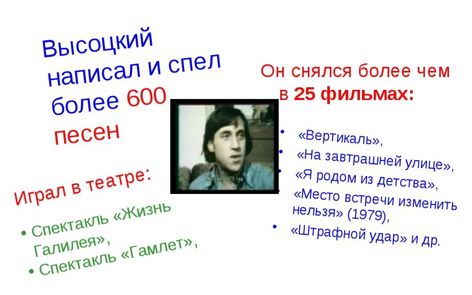 Высоцкий написал и спел более 600 песен Он снялся более чем в 25 фильмах: «В...