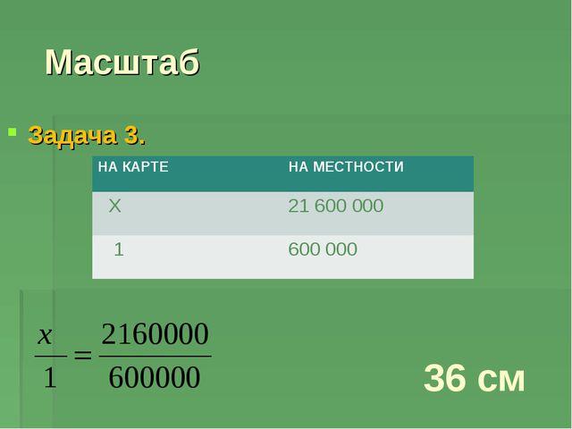 Масштаб Задача 3. 36 см НА КАРТЕНА МЕСТНОСТИ Х21 600 000 1600 000