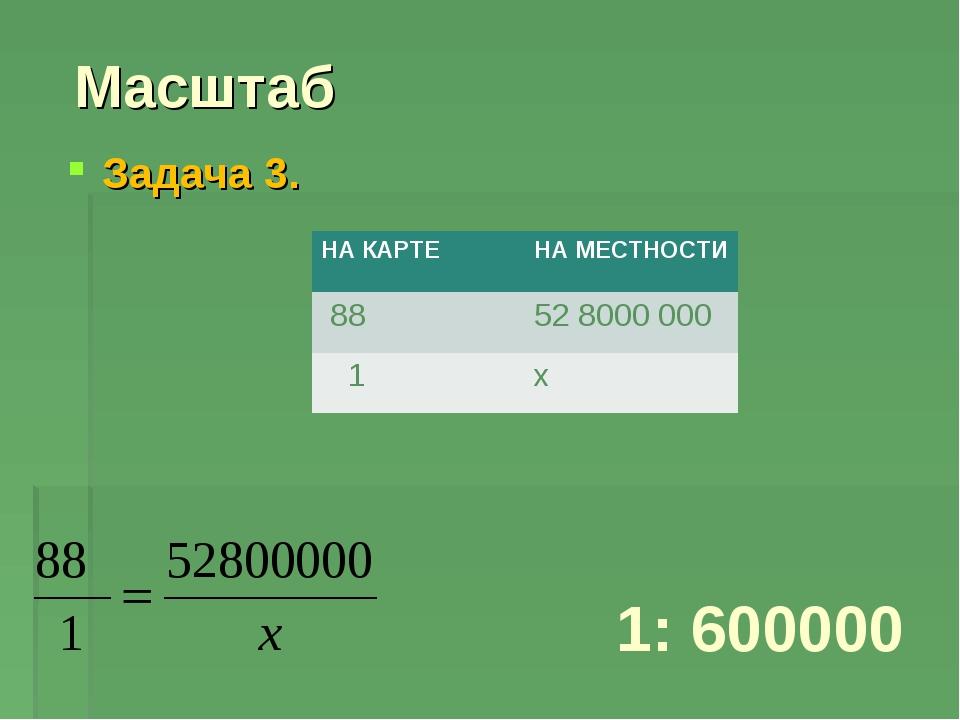 Масштаб Задача 3. 1: 600000 НА КАРТЕНА МЕСТНОСТИ 8852 8000 000 1х