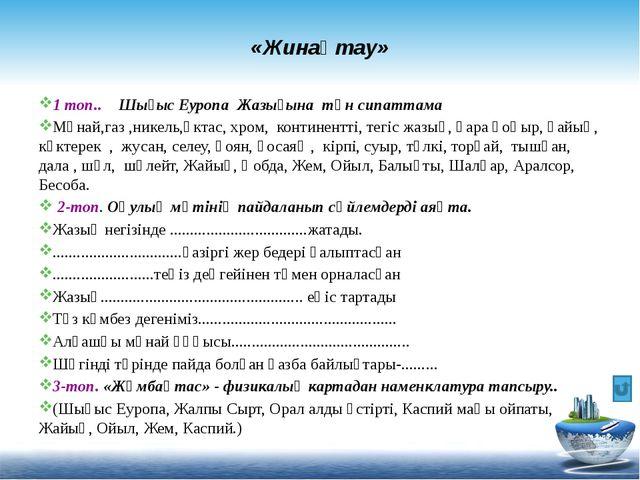 «Жинақтау» 1 топ.. Шығыс Еуропа Жазығына тән сипаттама Мұнай,газ ,никель,әкт...