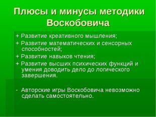 Плюсы и минусы методики Воскобовича + Развитие креативного мышления; + Развит