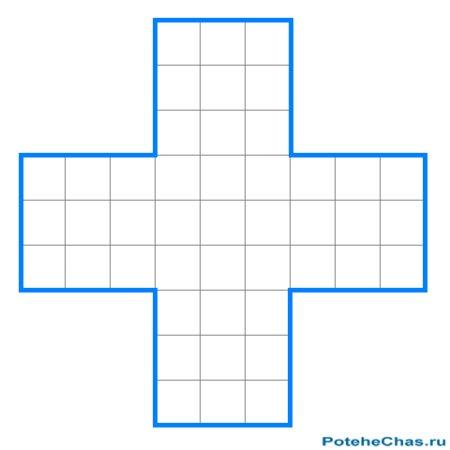 Крест внутри квадрата - Графическая головоломка