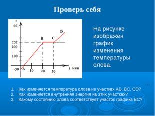 Проверь себя На рисунке изображен график изменения температуры олова. Как изм