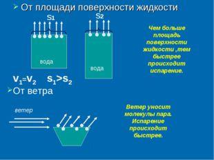 От площади поверхности жидкости вода вода v1=v2 Чем больше площадь поверхност