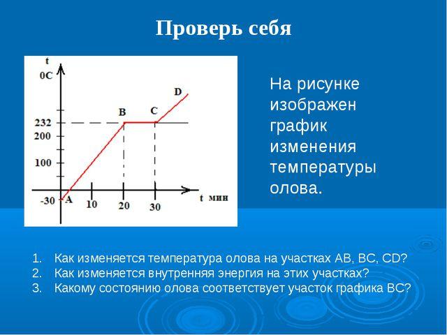 Проверь себя На рисунке изображен график изменения температуры олова. Как изм...