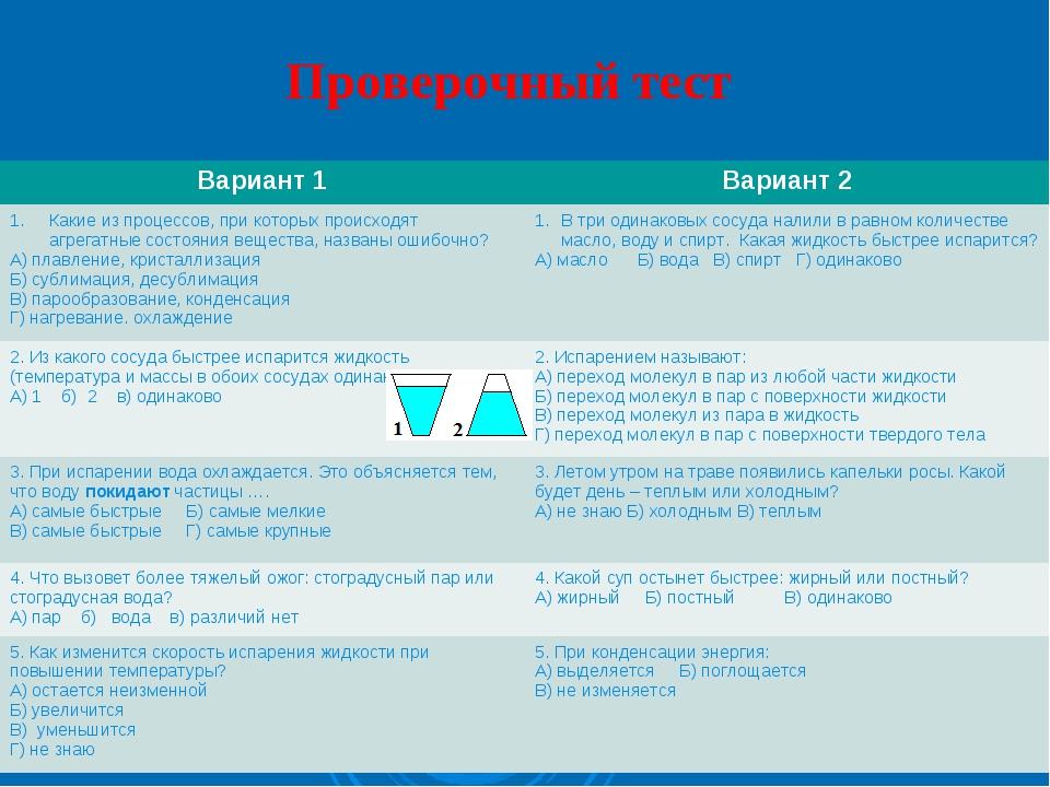 Проверочный тест Вариант 1Вариант 2 Какие из процессов, при которых происход...