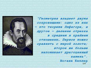 """""""Геометрия владеет двумя сокровищами: одно из них - это теорема Пифагора, а"""