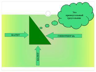 ГИПОТЕНУЗА КАТЕТ КАТЕТ Это прямоугольный треугольник *