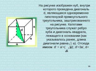 На рисунке изображен куб, внутри которого проведена диагональ d, являющаяся о