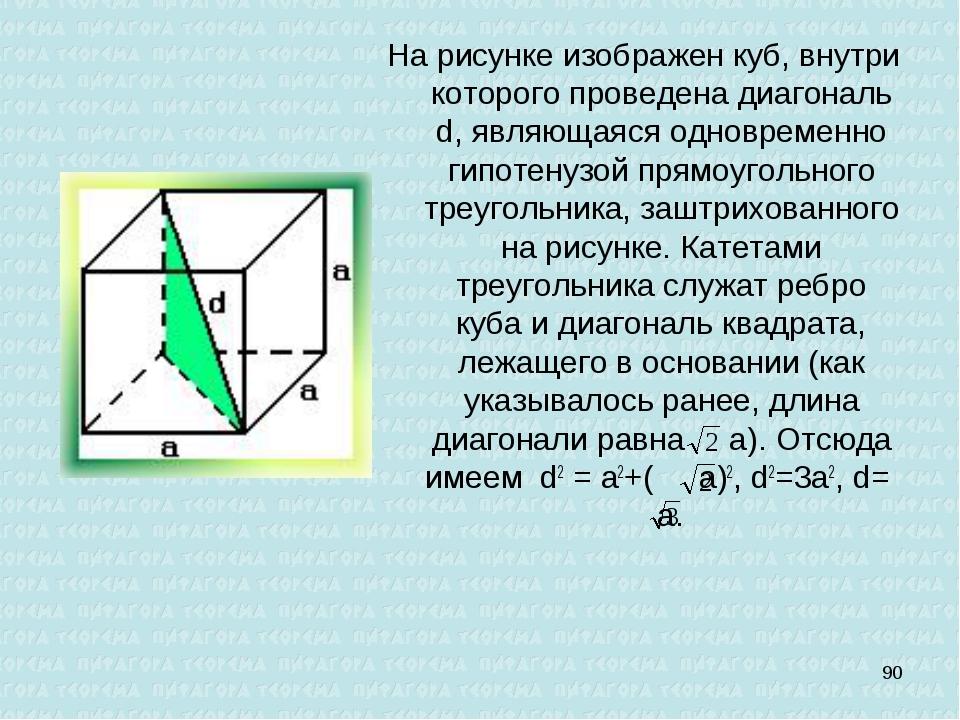 На рисунке изображен куб, внутри которого проведена диагональ d, являющаяся о...