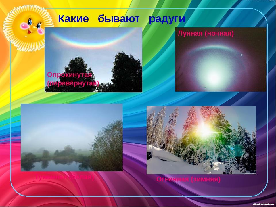 Какие бывают радуги Туманная (белая) Огненная (зимняя) Опрокинутая (перевёрну...