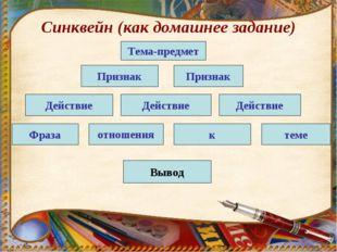 Синквейн (как домашнее задание) Тема-предмет Признак Признак Действие Действи