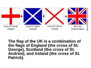 The flag of the UK is a combination of the flags of England (the cross of St