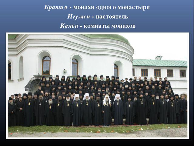 Братия - монахи одного монастыря Игумен - настоятель Кельи - комнаты монахов