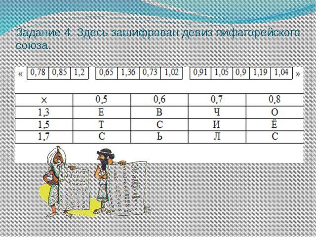 Задание 4. Здесь зашифрован девиз пифагорейского союза.