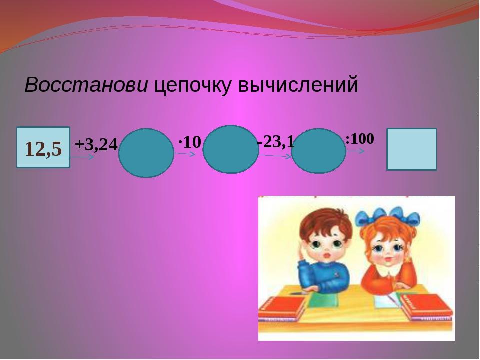 Восстанови цепочку вычислений ∙ 12,5 +3,24 ∙10 -23,1 :100