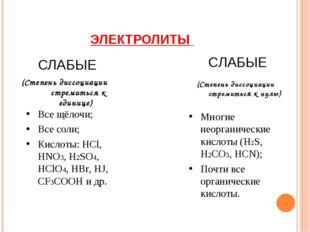 ЭЛЕКТРОЛИТЫ СЛАБЫЕ СЛАБЫЕ (Степень диссоциации стремиться к единице) (Степень