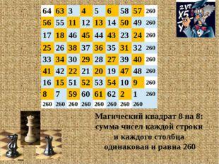 Магический квадрат 8 на 8: сумма чисел каждой строки и каждого столбца одинак