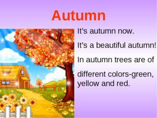 Autumn It's autumn now. It's a beautiful autumn! In autumn trees are of diffe