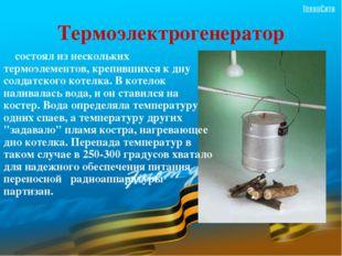 Термоэлектрогенератор     состоял из нескольких термоэлементов, крепившихся