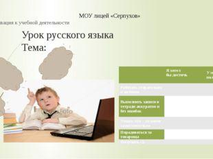 Урок русского языка Тема: 1.Этап: Мотивация к учебной деятельности МОУ лицей