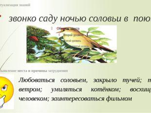 звонко саду ночью соловьи в поют 2 этап : Актуализация знаний Любоваться соло