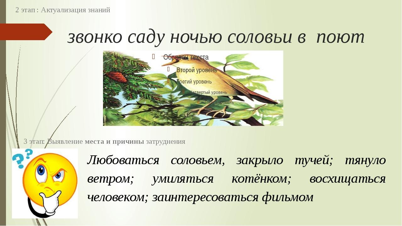 звонко саду ночью соловьи в поют 2 этап : Актуализация знаний Любоваться соло...