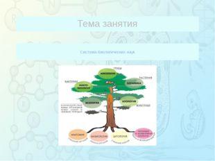 Система биологических наук Тема занятия Зорина Наталья Николаевна, учитель б