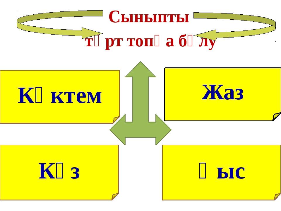 Жаз Көктем Сыныпты төрт топқа бөлу Күз Қыс