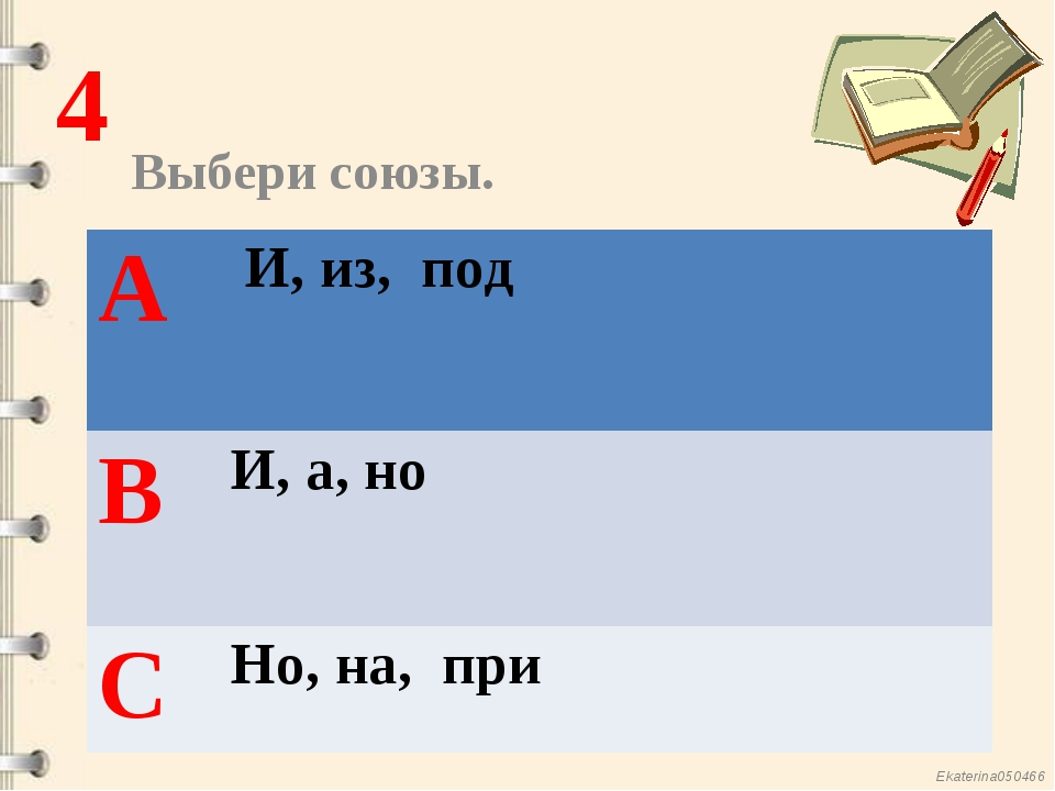 Выбери союзы. 4 А И, из, под ВИ, а, но СНо, на, при Ekaterina050466