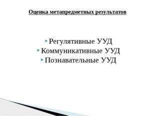 Регулятивные УУД Коммуникативные УУД Познавательные УУД Оценка метапредметных