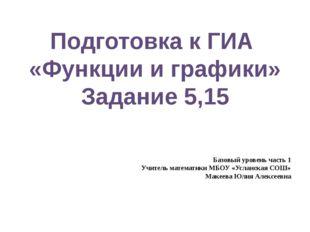 Подготовка к ГИА «Функции и графики» Задание 5,15 Базовый уровень часть 1 Уч