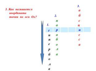 1. 2. 3. 4. и а р г и е п а л о б р 4. Как называется координата точки по оси