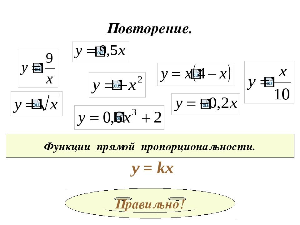 Повторение. Функции обратной пропорциональности. у = k/x И все!