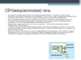 СВЧ(микроволновая) печь Источником излучения является высоковольтный вакуумны