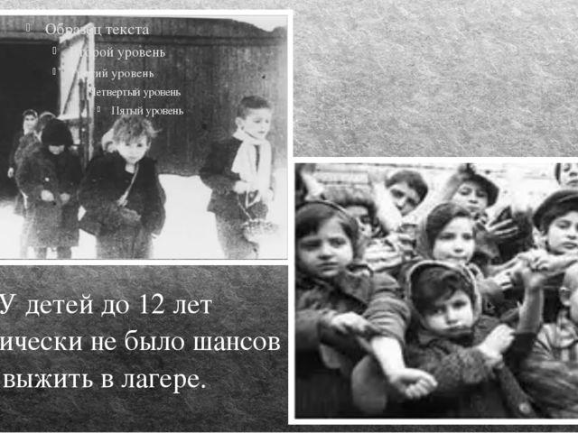 У детей до 12 лет практически не было шансов выжить в лагере.