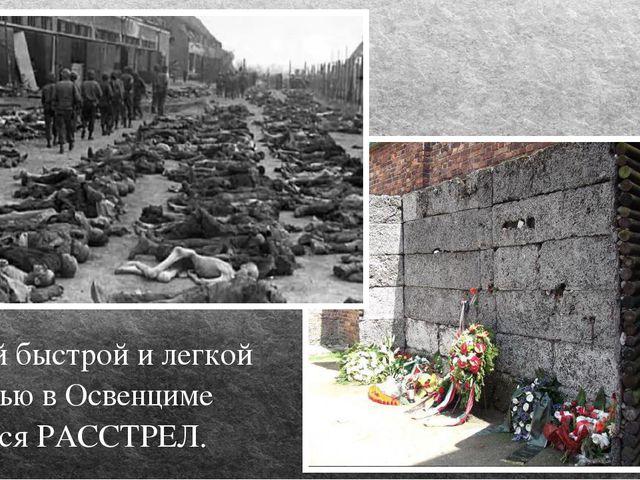Самой быстрой и легкой смертью в Освенциме являлся РАССТРЕЛ.