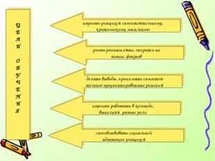 научить учащихся самостоятельному, критическому мышлению Ц Е Л И О Б У Ч Е Н
