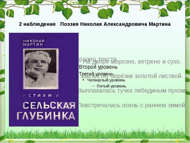 2 наблюдение Поэзия Николая Александровича Мартина На дворе морозно, ветрено...