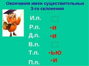 И.п. Р.п. Д.п. В.п. Т.п. П.п. Окончания имен существительных 3-го склонения -
