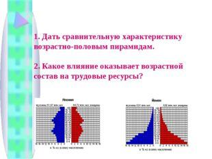 1. Дать сравнительную характеристику возрастно-половым пирамидам. 2. Какое в