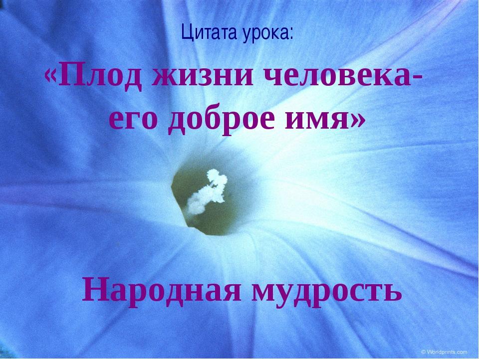 Цитата урока: «Плод жизни человека- его доброе имя» Народная мудрость