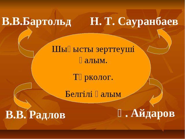 В.В.Бартольд В.В. Радлов Н. Т. Сауранбаев Ғ. Айдаров Шығысты зерттеуші ғалым....