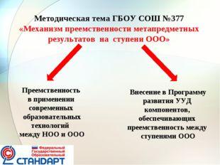 Методическая тема ГБОУ СОШ №377 «Механизм преемственности метапредметных резу
