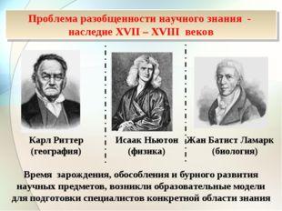 Исаак Ньютон (физика) Жан Батист Ламарк (биология) Карл Риттер (география) Вр