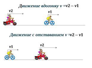 v1 v2 Движение вдогонку v = v2 – v1 v2 – v1 Движение с отставанием v = v2 v1